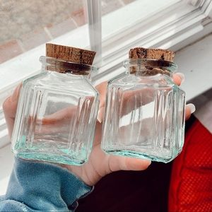 Set of 2 Boho Decor Glass Cork Jars